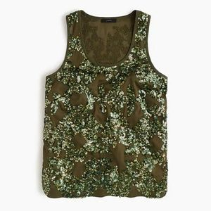 J. Crew Size 2 Green Sequin Tank Top